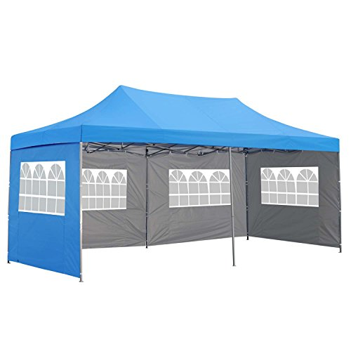 Outdoor Basic 10x20 Ft Pop up Canopy Party Wedding Gazebo Tent Shelter with Removable Side Walls Blue
