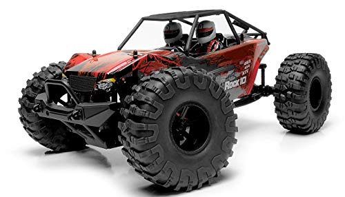 Exceed RC Rock Racer Radio Car 1/10 Scale 2.4Ghz Max Rock 4WD Powerful Electric Remote Control 100% RTR Ready to Run w/ Waterproof Electronics (Red) ()