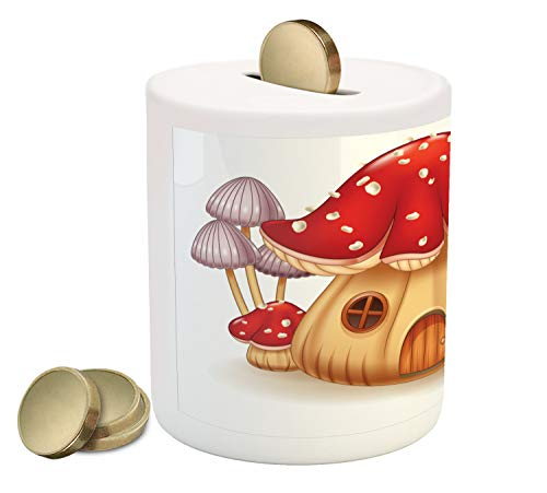 Ambesonne Caterpillar Piggy Bank, Mushroom House with Bug Cartoon Illustration Larva Type Bug Happy Character, Printed Ceramic Coin Bank Money Box for Cash Saving, Multicolor