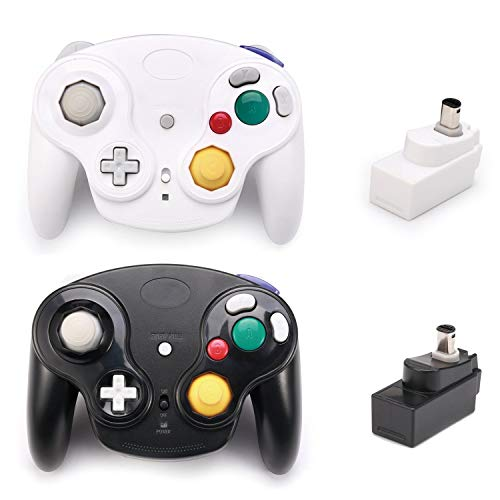 (Poulep 2 Packs Classic 2.4G Wireless Controllers Gamepad with Receiver Adapter for Wii U Gamecube NGC GC (Black and White))