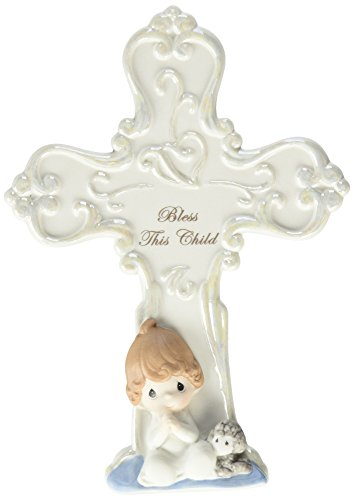 Precious Moments 152406  Bless This Child, Bisque Porcelain Cross with Easel, Boy