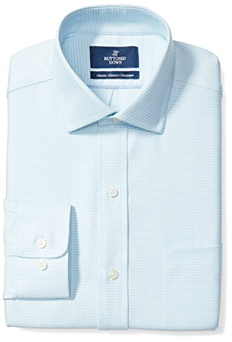 BUTTONED DOWN Men's Classic Fit Cutaway-Collar Pattern Non-Iron Dress Shirt, Aqua/Blue Houndstooth, 20