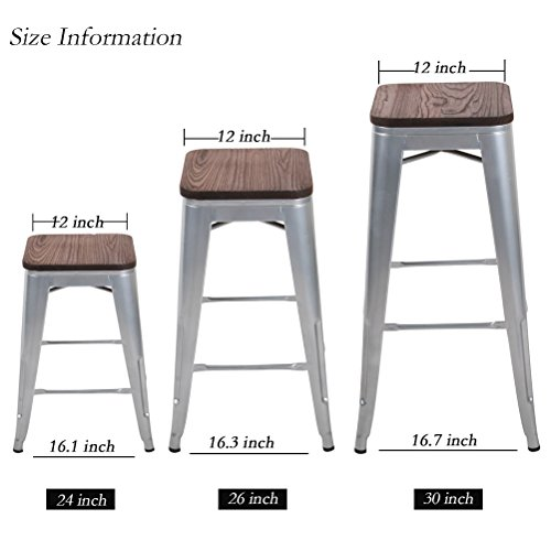 "Changjie Furniture 30"" High Backless Metal Bar Stool for Indoor-Outdoor Kitchen Stackable Counter Bar Stools Set of 4 (30 inch, Silver with Wooden Top)"