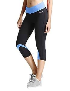 Baleaf Women's Yoga Running Workout Capri Legging Hidden Pocket Blue Size XS