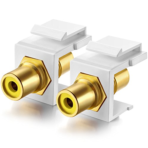 Gold-Plated RCA Keystone Jack Inserts coupler (2 Pack) (Yellow Center)