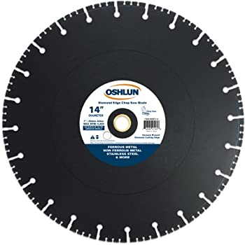 Image of Cut-Off Wheels Oshlun SBFD-14 14-Inch Diamond Chop Saw Blade with 1-Inch Arbor of 20mm Bushing for Stainless and Ferrous Metals
