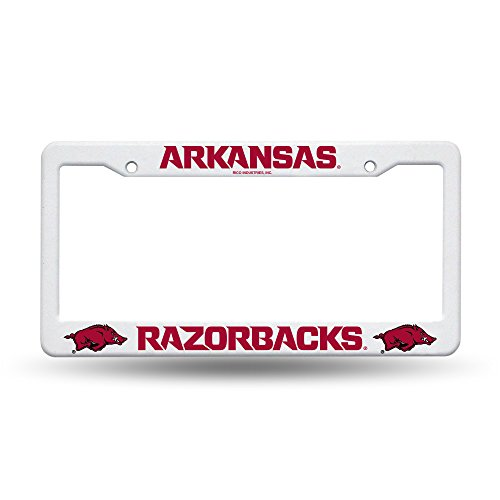 ansas Razorbacks Plastic License Plate Frame - White ()