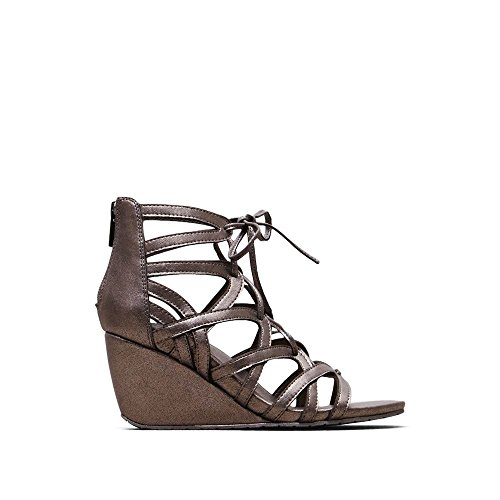 Kenneth Cole REACTION Women's Cake Pop Wedge Sandal, Pewter, 8.5 M US