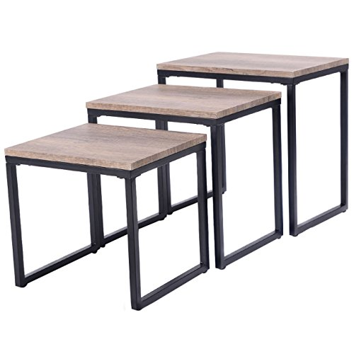 3PCS Stacking Nesting Coffee End Table Set Living Room Modern Home Furniture (Halloween Drag Makeover)
