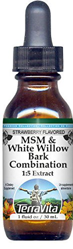 MSM & White Willow Bark Combination Glycerite Liquid Extract (1:5) - Strawberry Flavored (1 oz, ZIN: 522753) ()