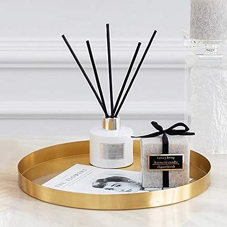 DOKOT Rundes Tablett aus Edelstahl Serviertablett Goldfarben Schmuck und Make-up-Organizer//Kerzenteller Gold 32 cm