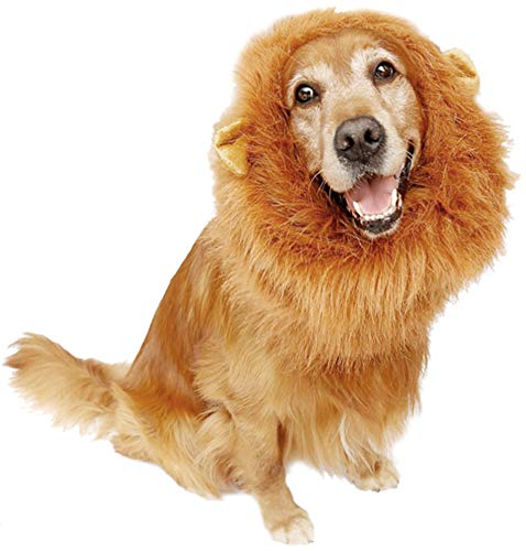 Bassion Dog Lion Mane - Funny Pet Dog Lion Costume with Gift [Lion Tail] - Lion Wig Dog Mane for Medium to Large Sized Dogs (Light Brown)