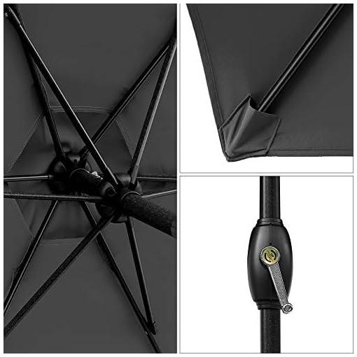 Garden and Outdoor SUNVIVI OUTDOOR 7.5 Ft Patio Umbrella Outdoor Market Table Umbrella with Crank, 6 Ribs, Polyester Canopy, Black patio umbrellas