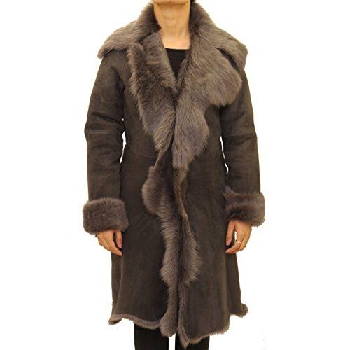 Daim Avec Peau Longue Mouton 3 De Gris ˆ Manteau Couleur Gris Capuchon Cascade 4 Fourrure En Femmes Aux tYxOqR85Y