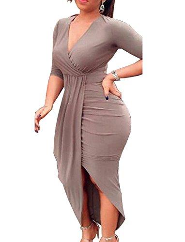 Misschicy Gris Femme Uni Robe Moulante Manches Longues r7Urwq