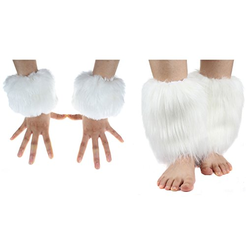 ECOSCO Faux Fur Wrist Cuffs Warmer Autumn Winter Cold Weather (20cm leg warmer+wrist cuff white)