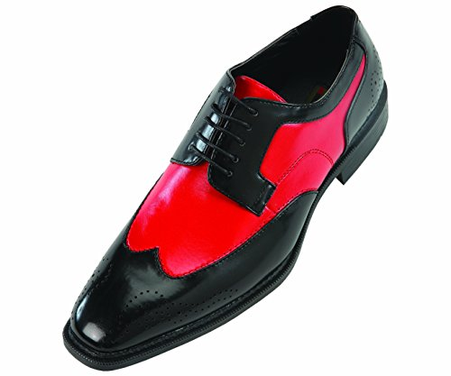 Bolano Mens Two-Tone Wingtip Oxford Dress Shoe in Black and Red: Style Nia Red-005