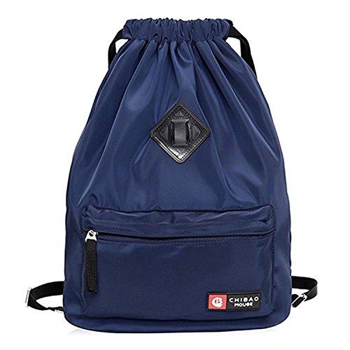 Cheap Waterproof Sport Drawstring Backpack, Lightweight Gym Sack Bag for Men and Women(Blue)