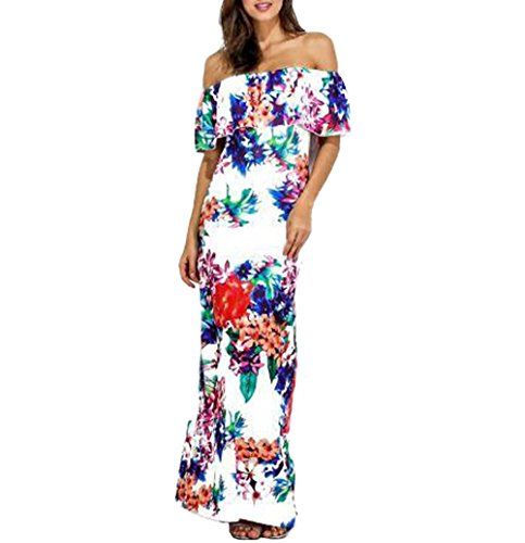Han Shi Long Dress, Women Off Shoulder Floral Print Slash Neck Gown Dress Skirt (Darling Floral Skirt)
