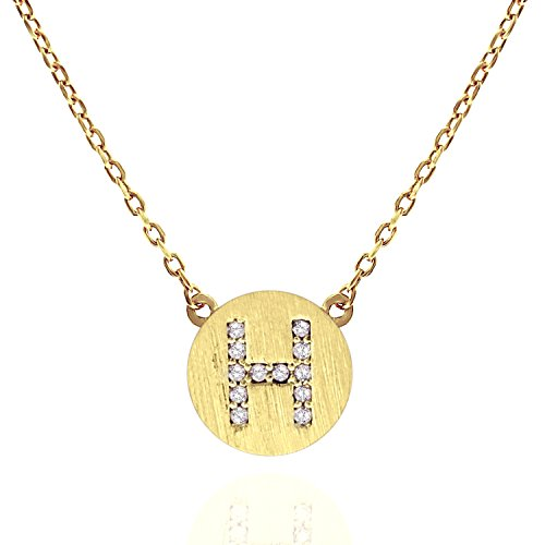 Cubic Zirconia Gold Plated Necklace (PAVOI 14K Gold Plated CZ Simulated Diamond Alphabet Disc Initial Pendant Necklace 16-18
