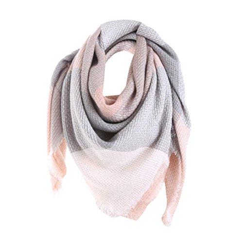 Sothread Women Winter Cashmere Scarf Pashmina Blue Patchwork Long Shawl Wrap 55.1x53.1'' (Pink)