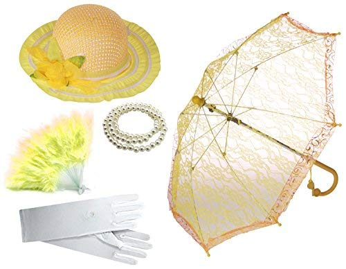 Enimay Girl's Costume Tea Party Set Fan Hat Necklace Umbrella Gloves Yellow (Ivy Umbrella)