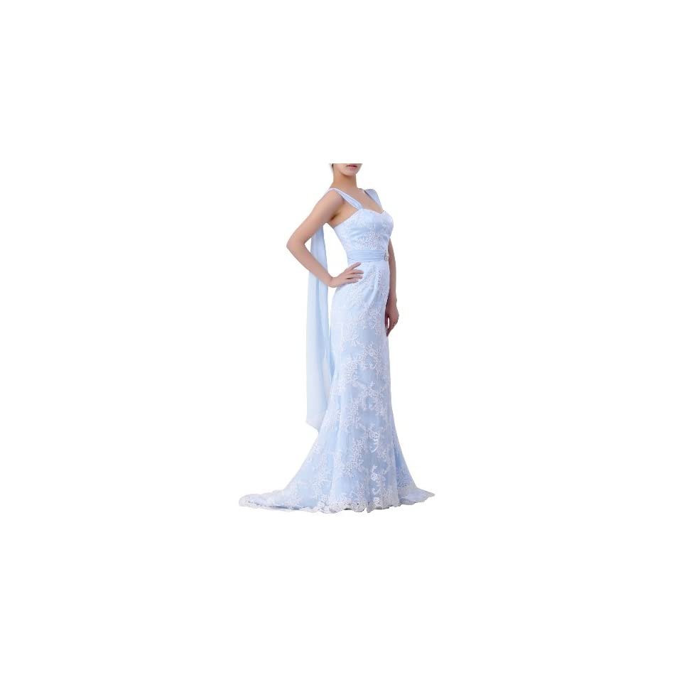 Lace Natrual Sweetheart Straps Trumpet Wedding Dress, Color Baby Blue ,2