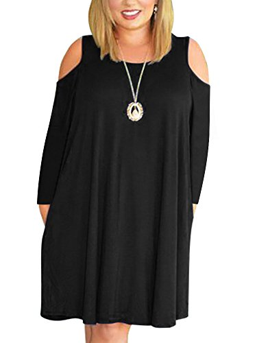 Nemidor Women's Cold Shoulder Plus Size Casual T-Shirt Swing Dress With Pockets (26W, Black+Sleeve)