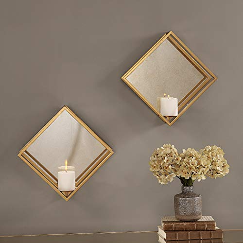 Uttermost Metal Wall Decor Set - Uttermost Candle Sconces in Gold -