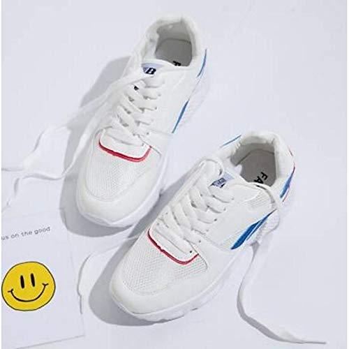 Scarpe chiusa Tacco da Nero donna Primavera Rosa Sneakers Comfort Mesh Black piatto ZHZNVX Estate Bianco Punta pdw1qp