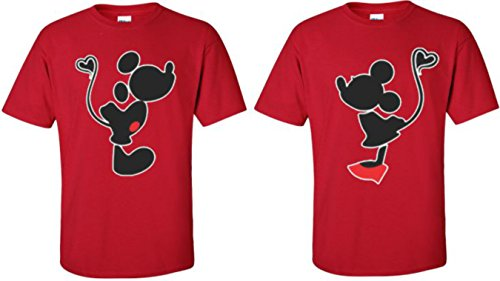 Mickey Minnie Kissing Cute Funny Matching Disney Couples T-Shirts S-4XL (Large Mickey, Red)
