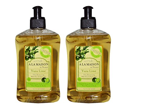 A La Maison de Provence Yuzu Lime Liquid Hand and Body Soap Pack of 2 With Olive Oil, Coconut Oil and Vitamin E, 16.9 fl oz Each