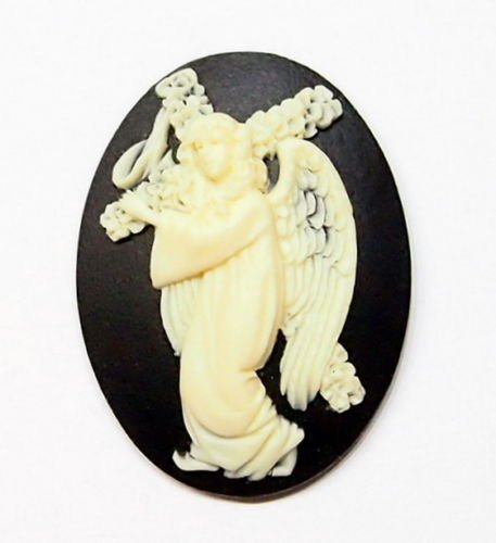 (4 Pcs of Cream Over Black Cross Carrying Angelic Woman Cameos)