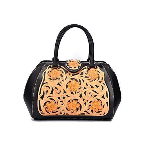 En Femme Style Chinois Main Fleur Style Ethnique à AJLBT Relief Mode Black Sac Sac Rétro X1qHwR45