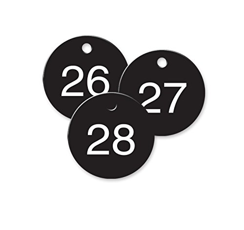 "Numbered Black Plastic Circle Tags - Pack of 25 - 1-1/2"" ..."