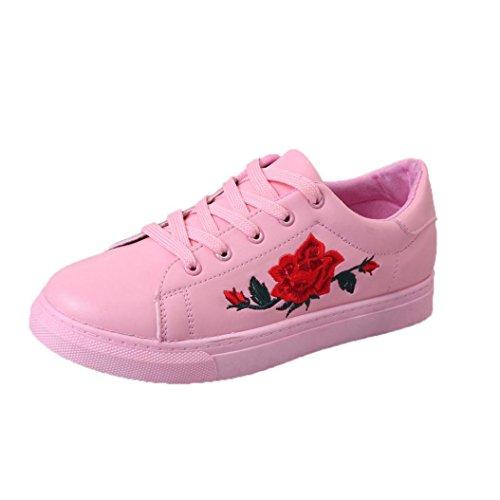 Culater Zapatillas de deporte de las mujer de la moda Zapatos de las flores del bordado Rosa