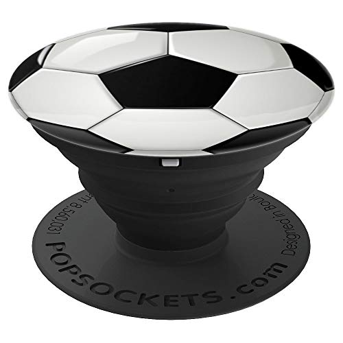 Soccer Socket Grip | Soccer Ball Black White Phone Pop Grip - PopSockets Grip and Stand for Phones and Tablets