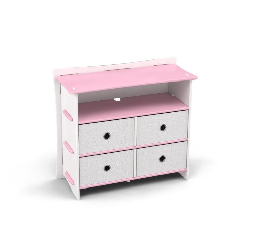 Legaré Kids Furniture Princess Series Collection, No Tools Assembly 4-Drawer Dresser, Pink and White by Legare