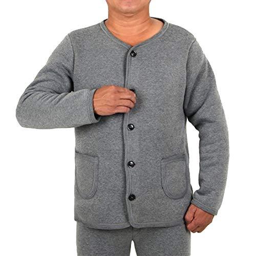 Lunghi T Lunga Uomo Puro Cotone Da Base Grigio E Pantaloni shirt In Bozevon Manica Pigiama Caldo Strato Intimo Set Termico qw6APgAT