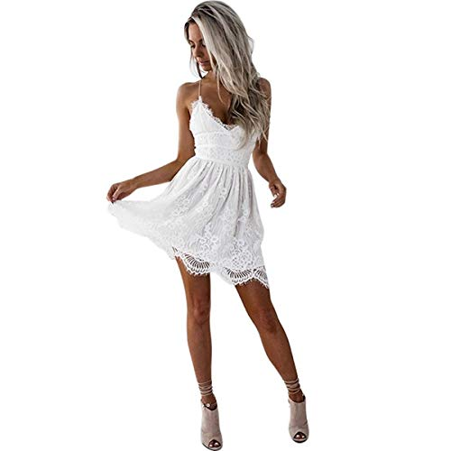 Women Sexy V-Neck Spaghetti Strap Backless Beach Sundress Lace A-Line Mini Short Dresses White
