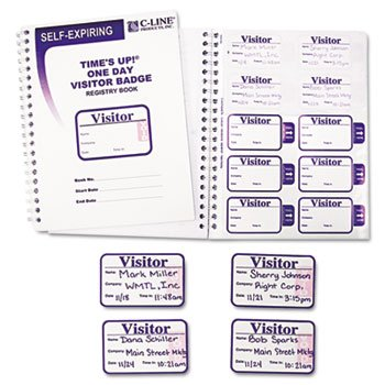 (C-line Times Up! Self-Expiring Visitor Badges with Registry Log - Carbonless - 150 / Box)