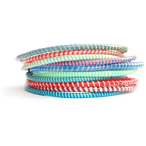 10 Assorted Color Recycled Flip Flop Bracelets Hand Made in Mali, West ()