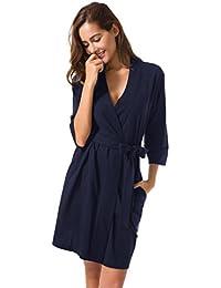 b605e45321 Women s Kimono Robes Cotton Lightweight Bath Robe Knit Bathrobe Soft  Sleepwear V-Neck Ladies Nightwear