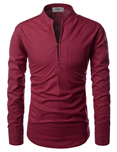 (NEARKIN (NKNKN351 Henley Neck Light Weight Chinese Collar Cool Linen Shirts Wine US XS(Tag Size XS))