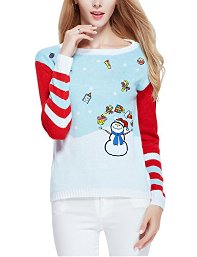 [Ugly Christmas Sweater, V28 Women Cute Vintage Knit Xmas Pullover Sweater(Snowman M)] (Xxl Santa Suits For Sale)