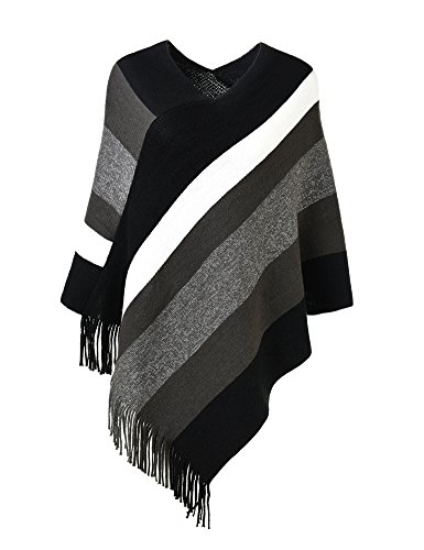 Ferand Women's Elegant Knitted Poncho Top with Stripe Patterns and Fringed Sides, Black & Grey