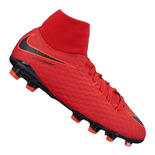 NIKE Kids' Jr. Hypervenom Phelon III FG Indoor Soccer Shoe (SZ. 3.5Y) Red