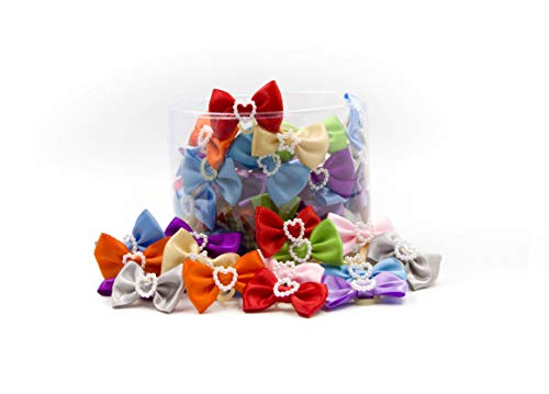 - AXEL PETS Classy Bows Style Dog & Puppy Bows Canister of 100 Pieces - Grooming Pet Hair Bows