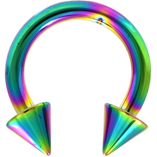 - 10G (2.5mm) Rainbow Titanium IP Steel Circular Barbells Horseshoe Rings w/Spike Ends (Sold in Pairs)