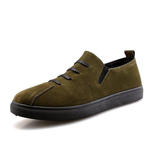 2018 Chaussures Homme d'été Talon Plat Loafer de la Mode des Hommes à Lacets Chaussures de Loisirs de Couleur Unie (Color : Vert, Taille : 42 EU)